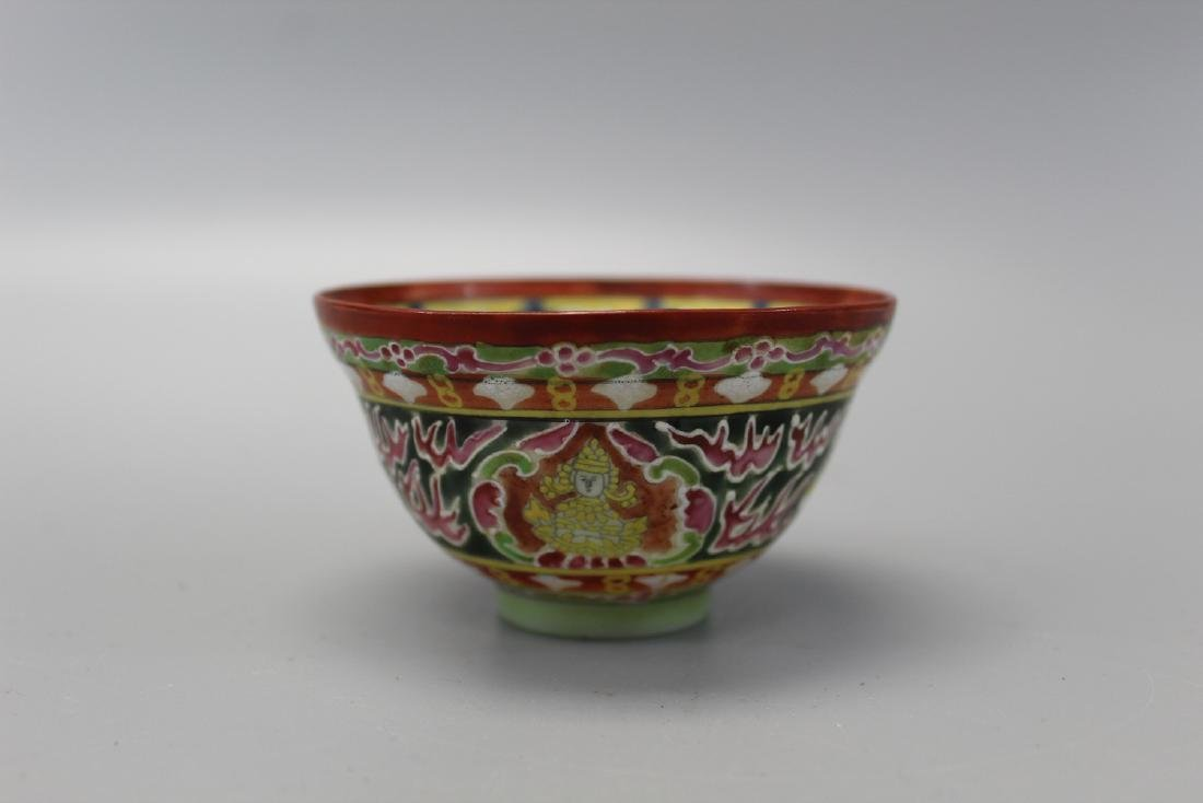 Mongolian porcelain cup, 19th Century.