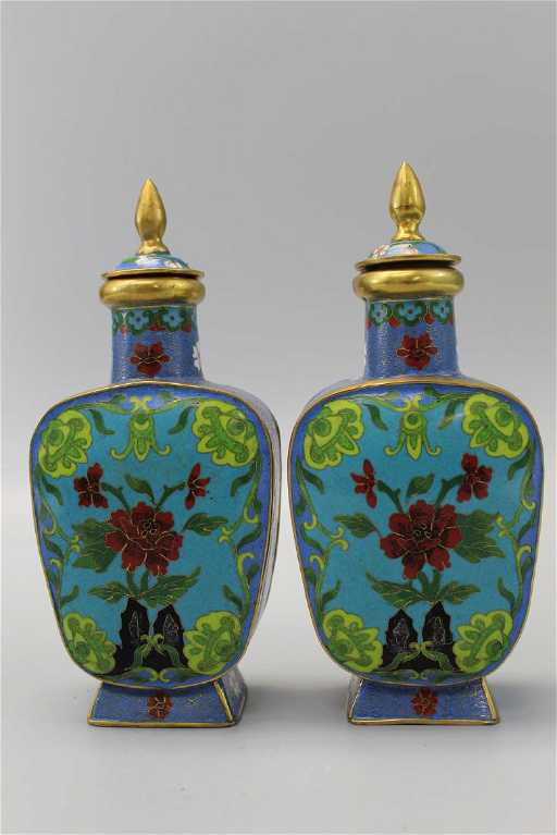 Pair Of Chinese Cloisonne Vases With Lids