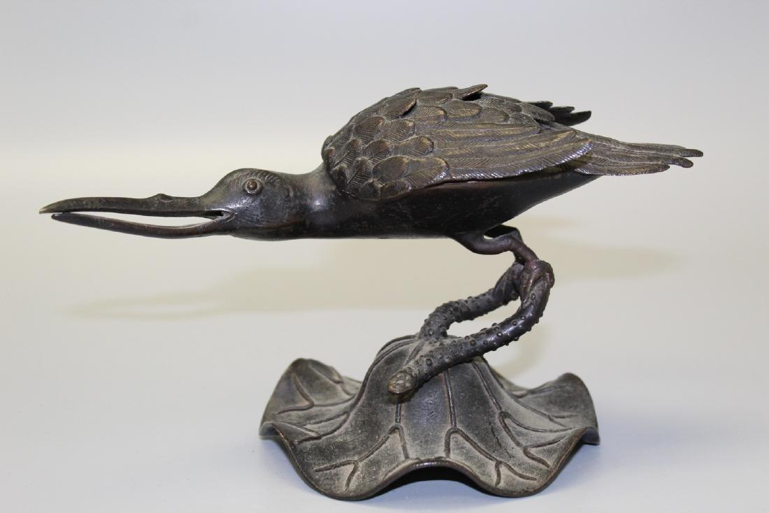 Chinese bird bronze incense burner.