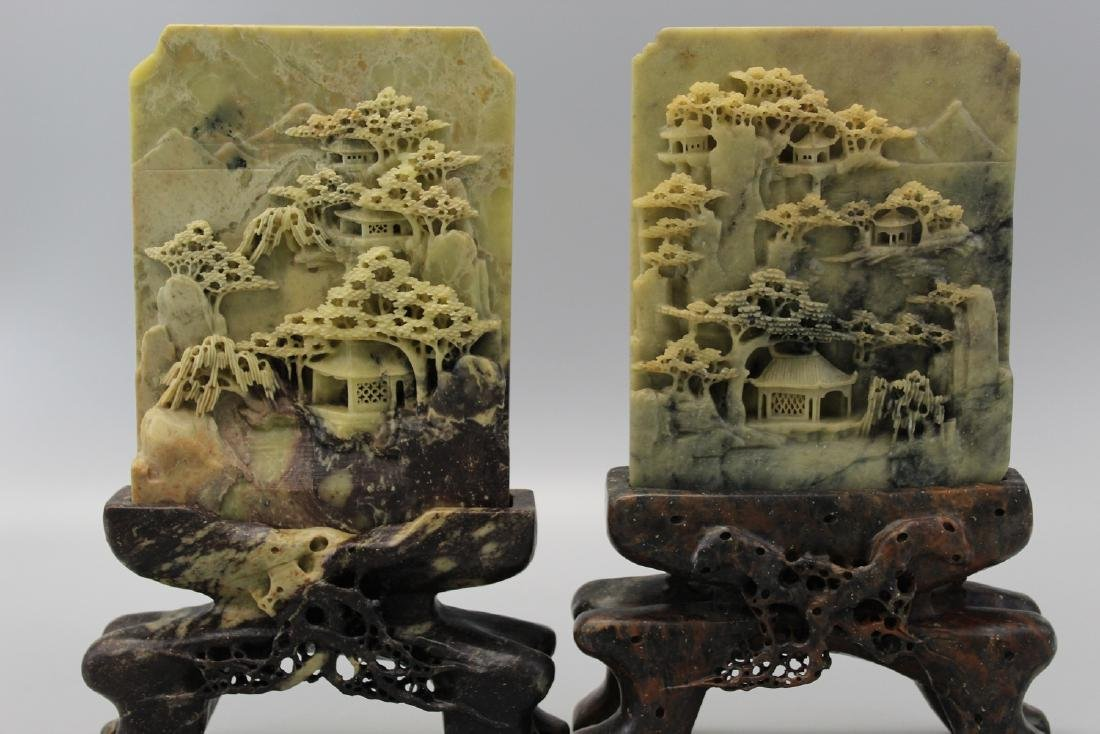 Two Chinese carved soapstone table screens.