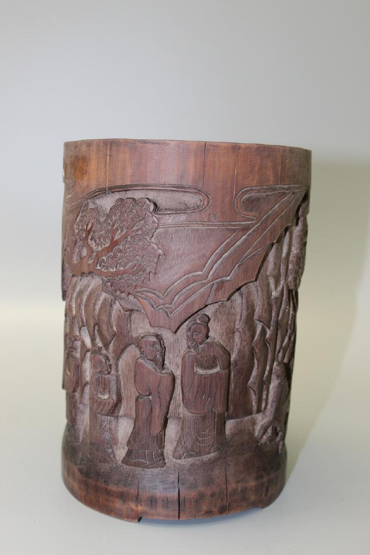 Chinese carved bamboo brush pot, 20th Century.