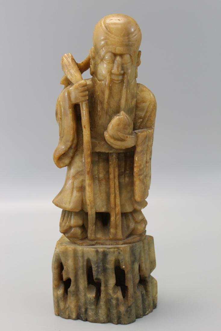 Chinese carved soapstone figure of shoulao.