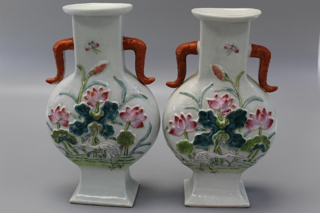 Pair of Chinese famille rose porcelain vases.