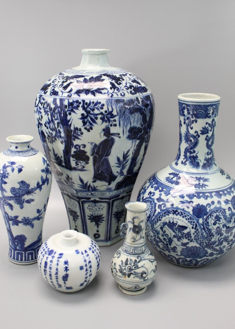 Five Chinese blue and white porcelain vases.