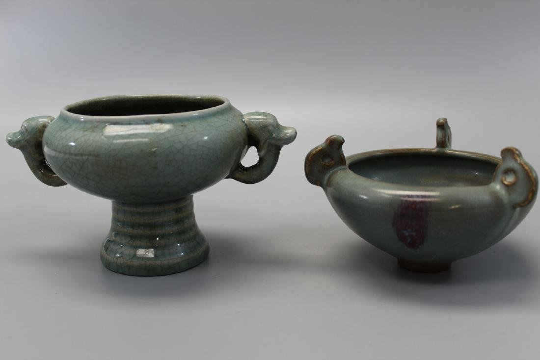 Chinese Jun Ware porcelain bowl and celadon porcelain