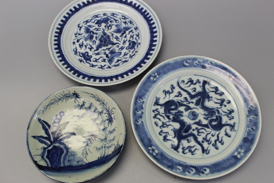 Three Chinese blue and white porcelain dishes.