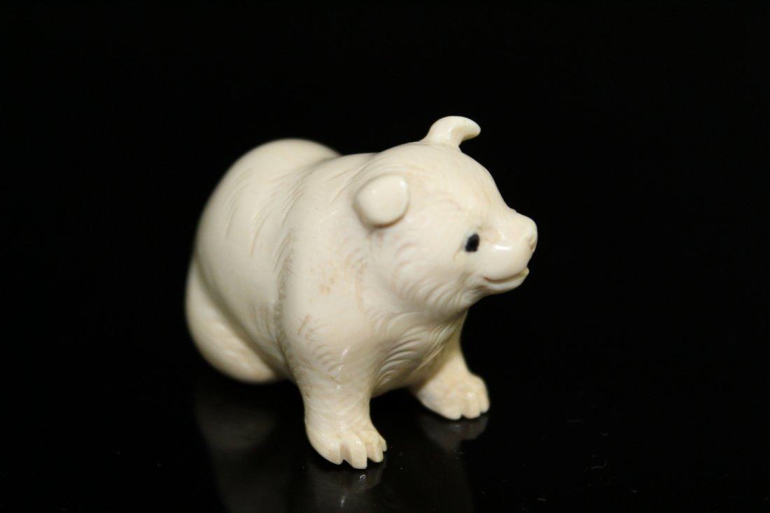 Japanese carved netsuke of a dog. - 2