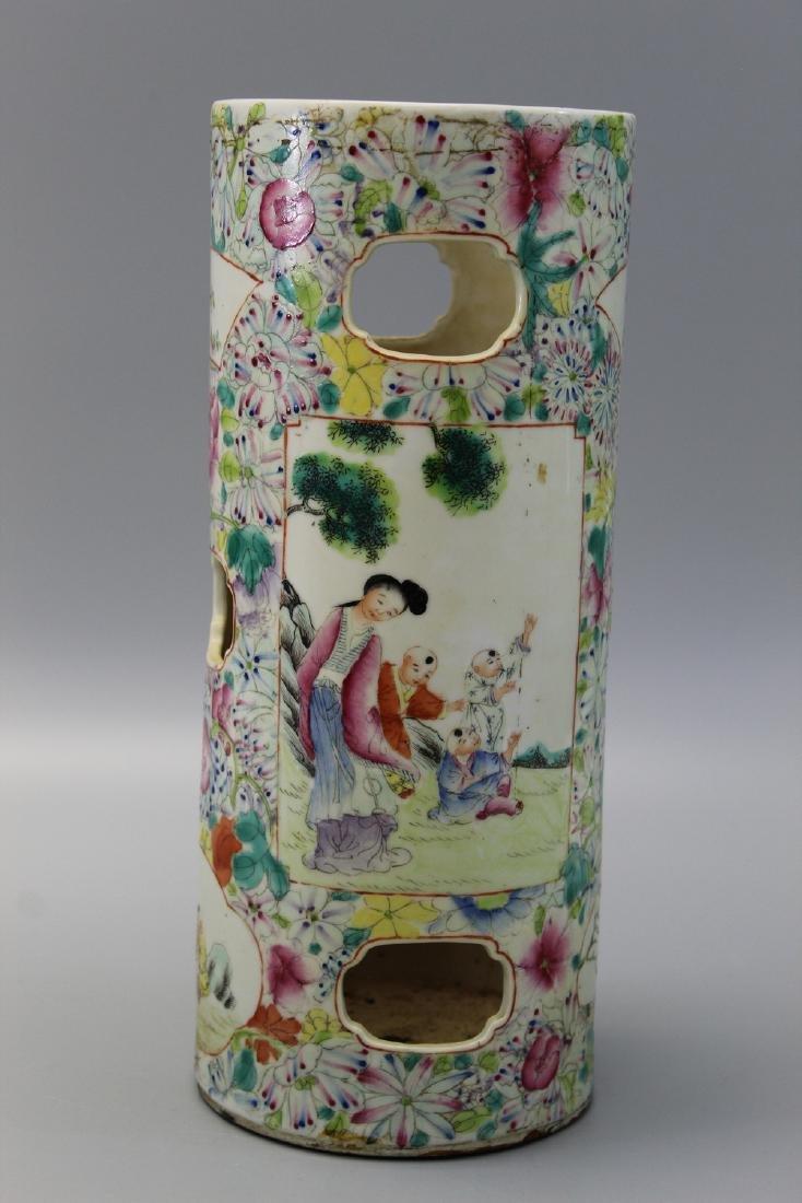 Chinese famille rose porcelain hat vase.