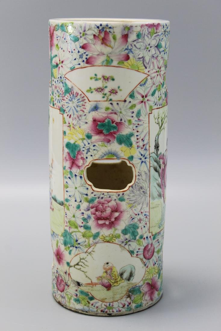 Chinese famille rose porcelain hat vase. - 3