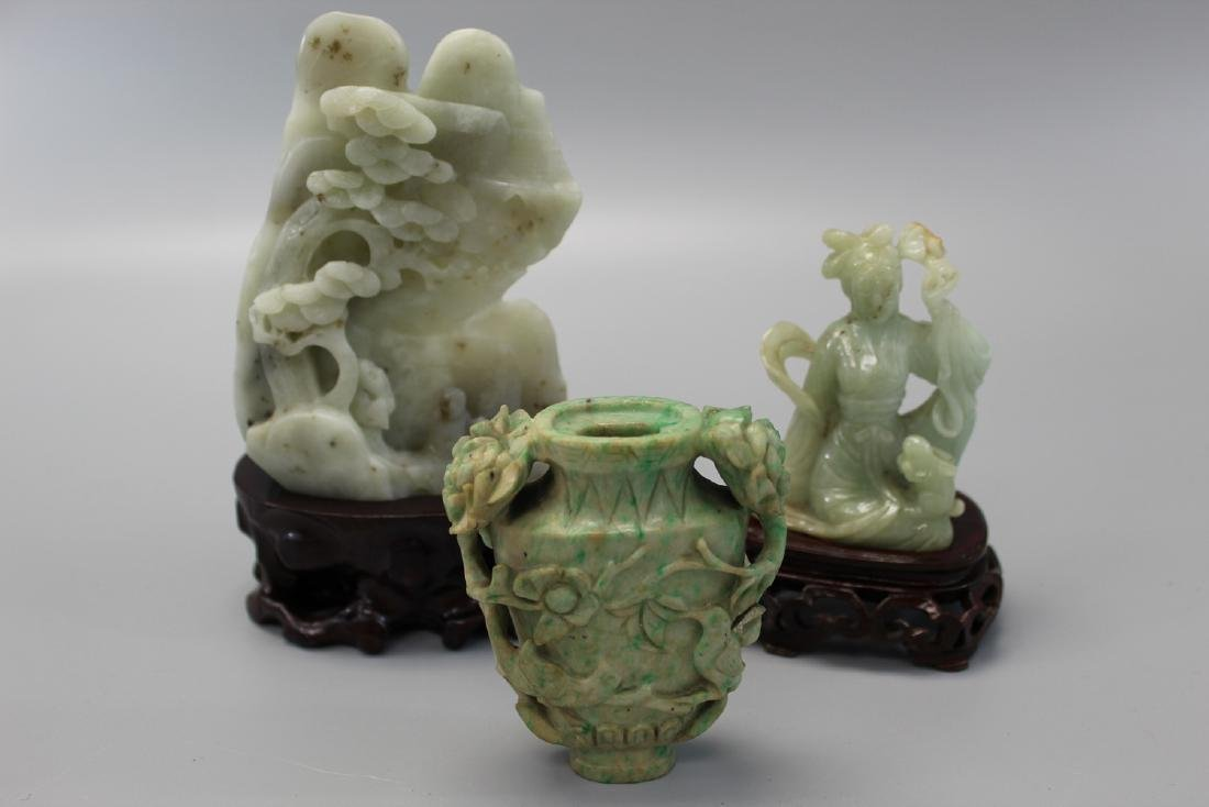 Three Chinese  jade carving, including a jade boulder,