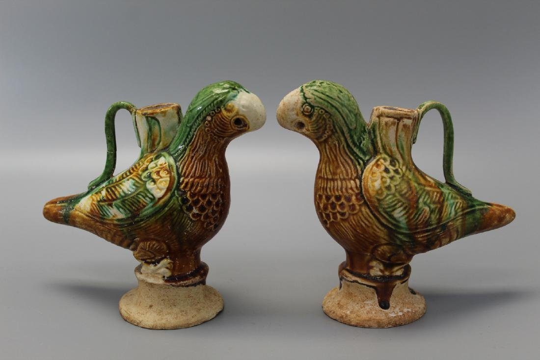 Two Chinese Sancai pottery bird teapots.