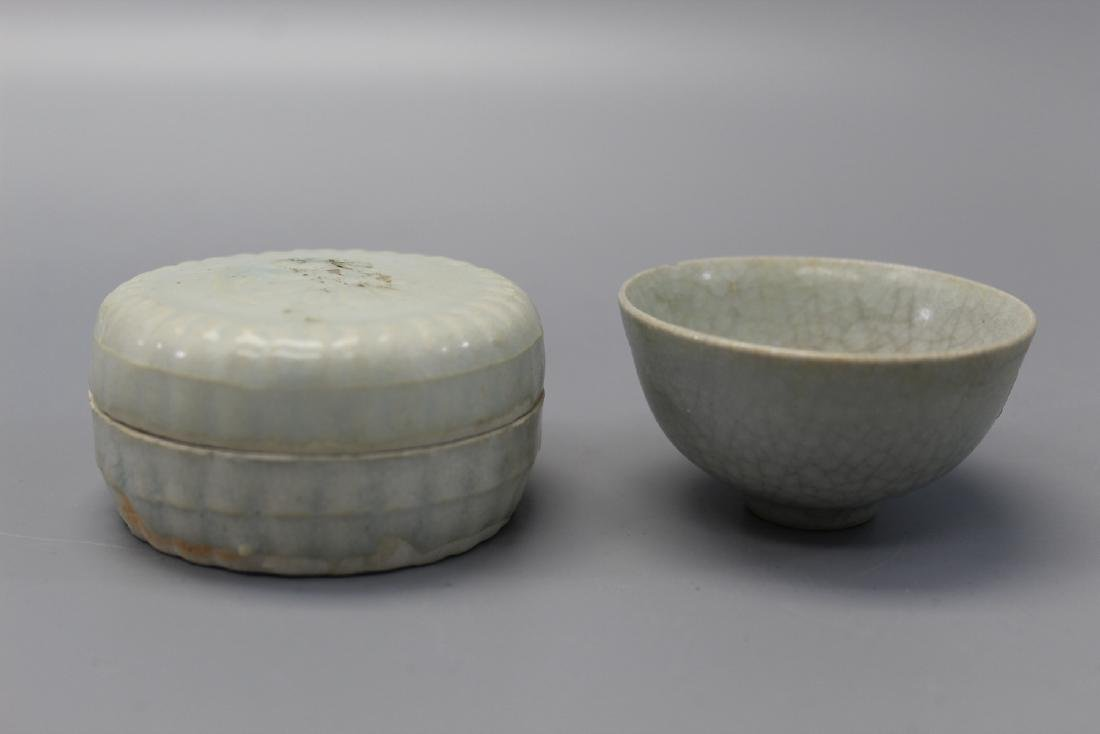 Chinese Yingqing porcelain box and cup.