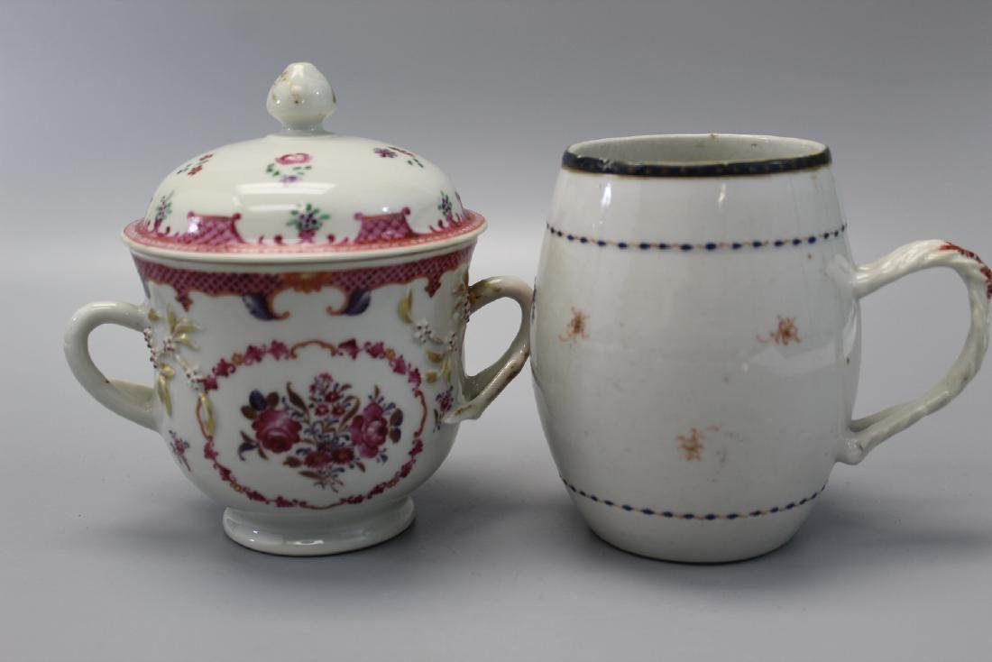 Two Chinese export porcelain mugs.
