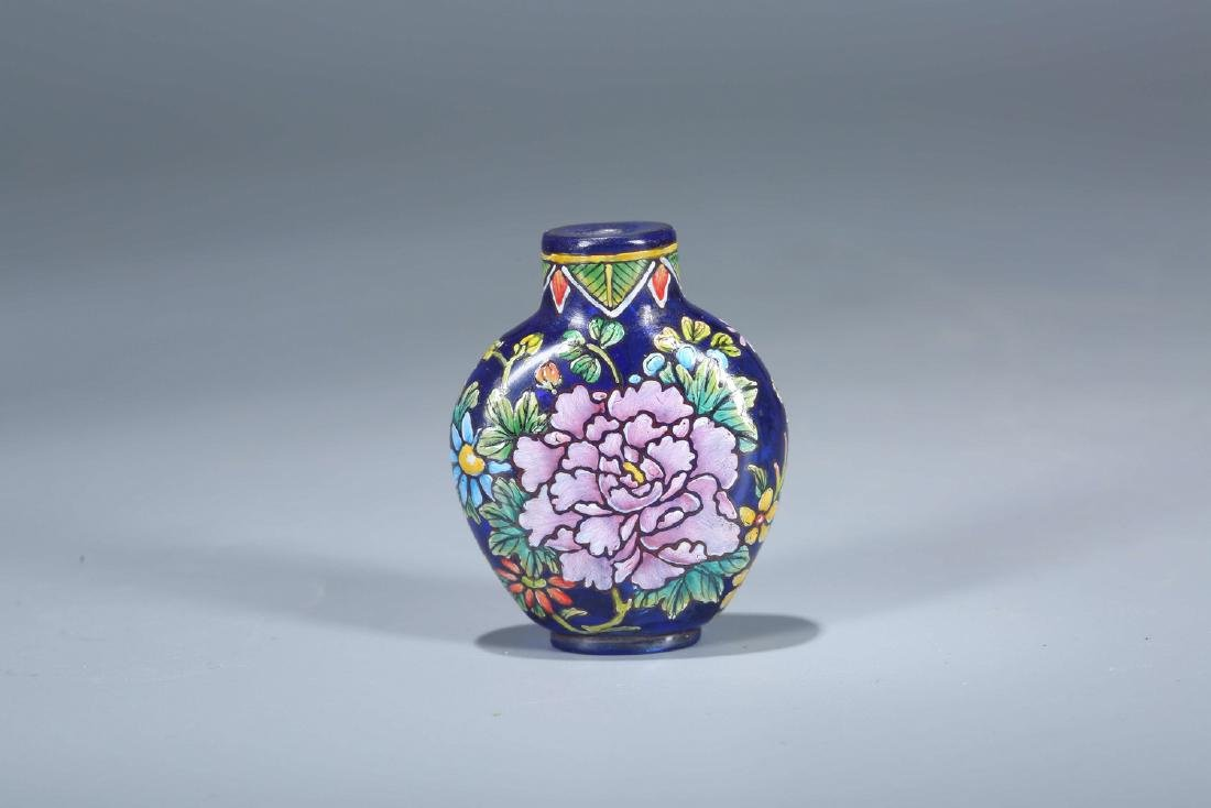 Chinese Enameled Peking glass snuff bottle, marked.