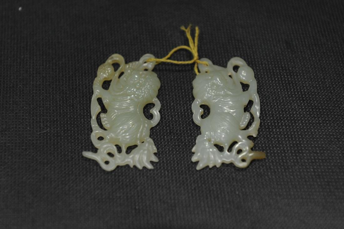 Pair of Chinese carved jade lions.