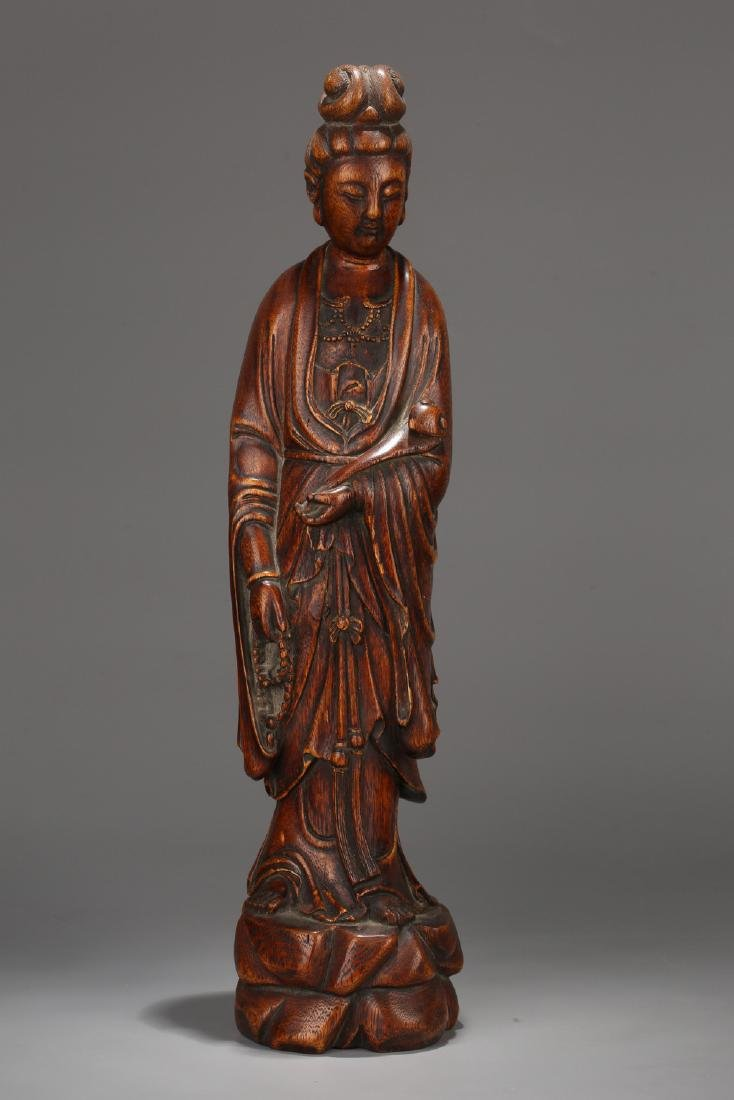 Chinese carved Chenxiang figure of Guanyin.