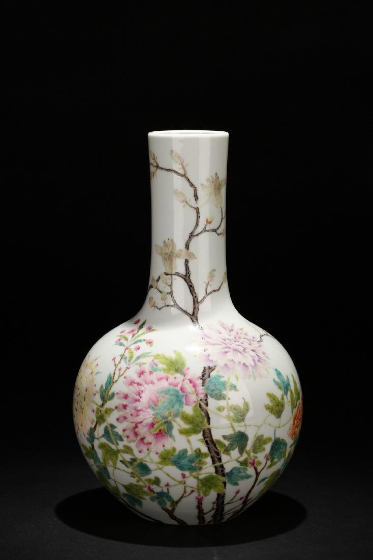 Chinese famille rose porcelain vase, Qianlong mark.