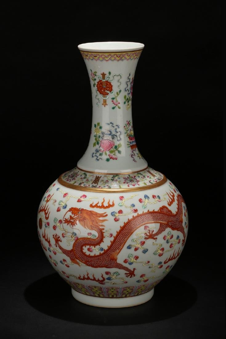 Chinese famille rose porcelain vase, Guangxu mark.