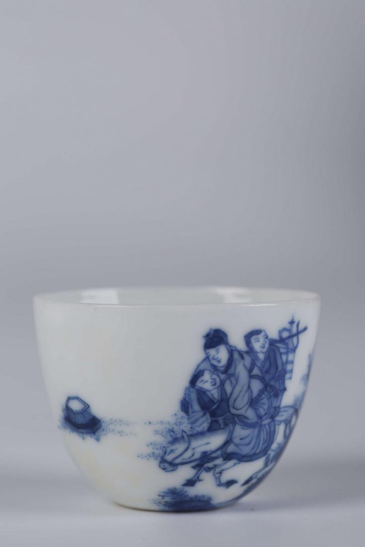 Chinese blue and white porcelain cup, Kangxi mark.