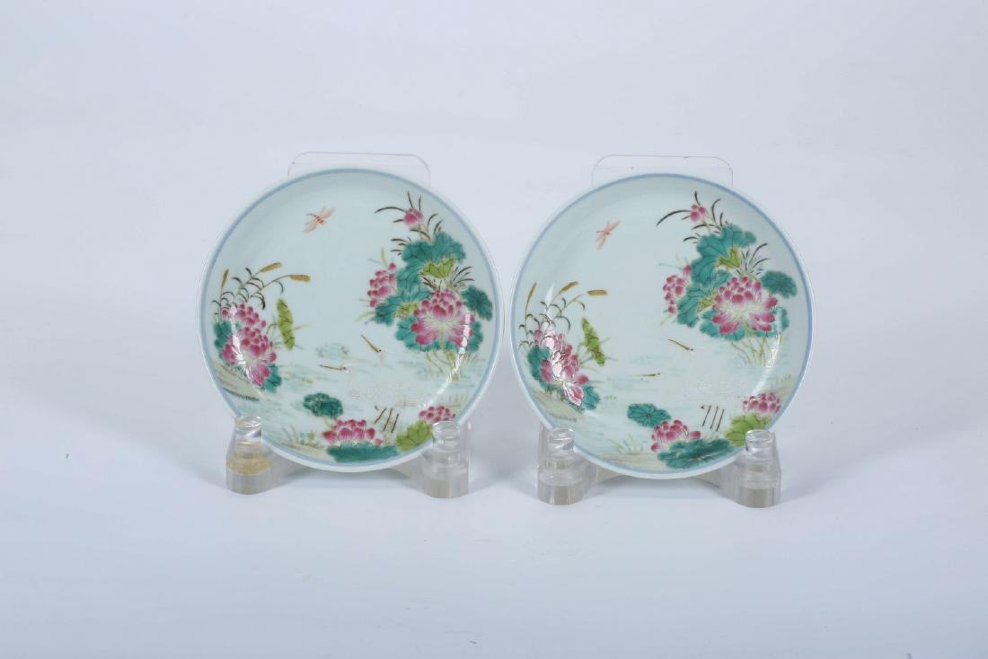 Pair of Chinese famille rose porcelain plates, Daoguang
