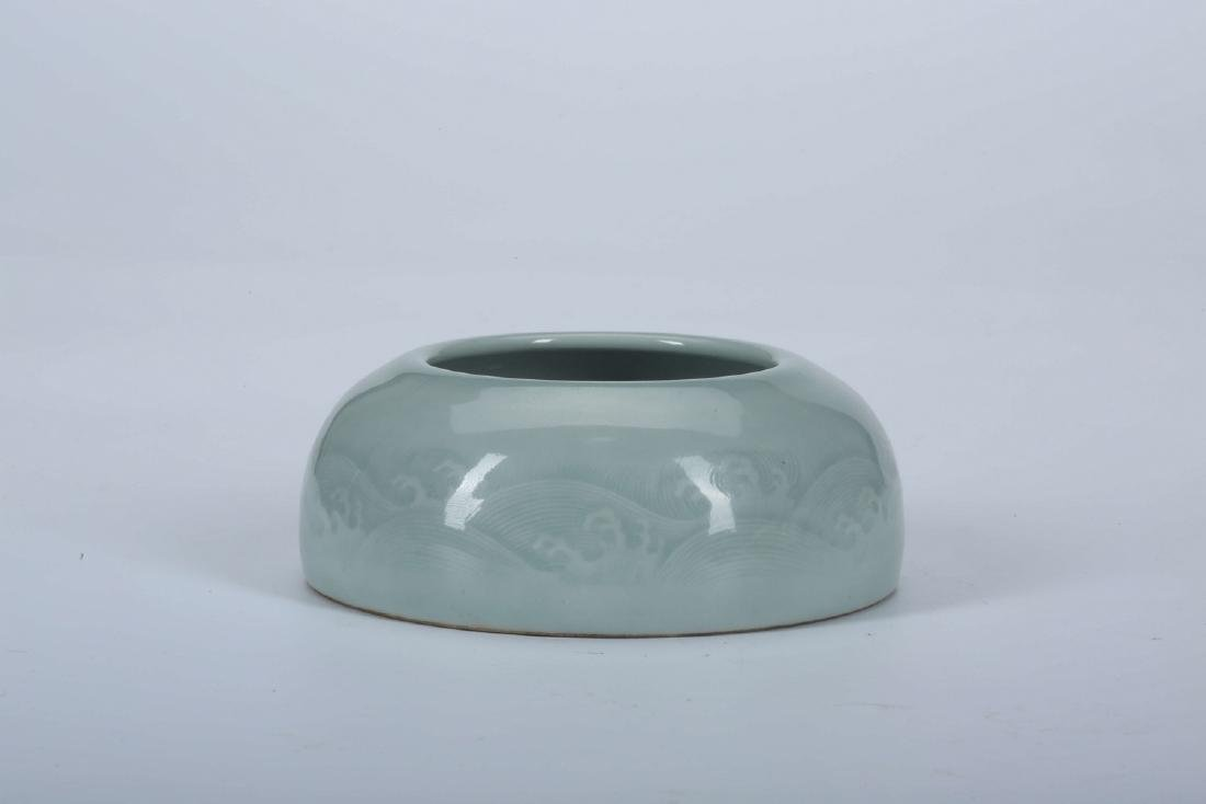 Chinese celadon porcelain brush washer with incised