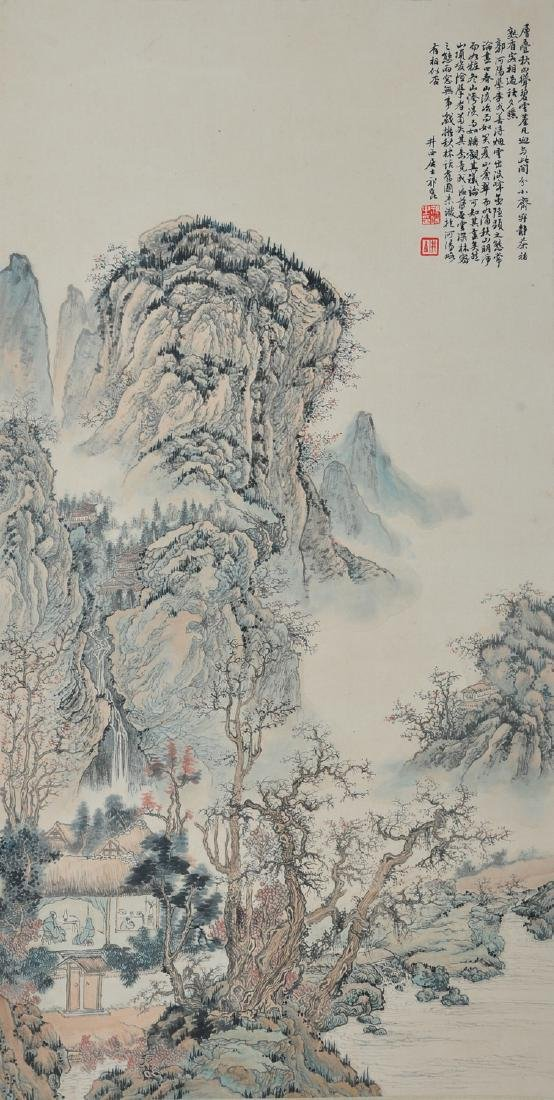 Chinese ink painting on paper scroll, attributed to Qi