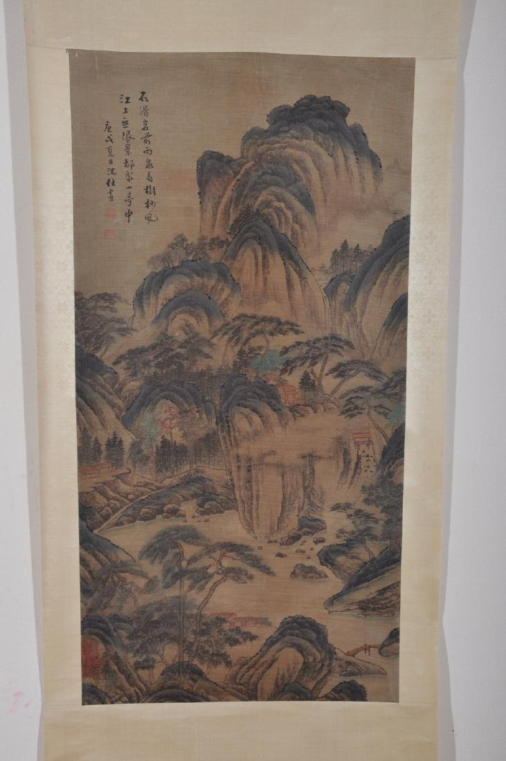 Chinese ink painting on silk scroll, attributed to Shen