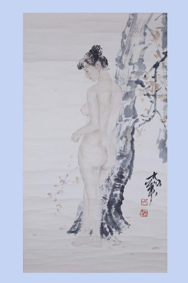 Chinese ink painting on paper scroll, attributed to He