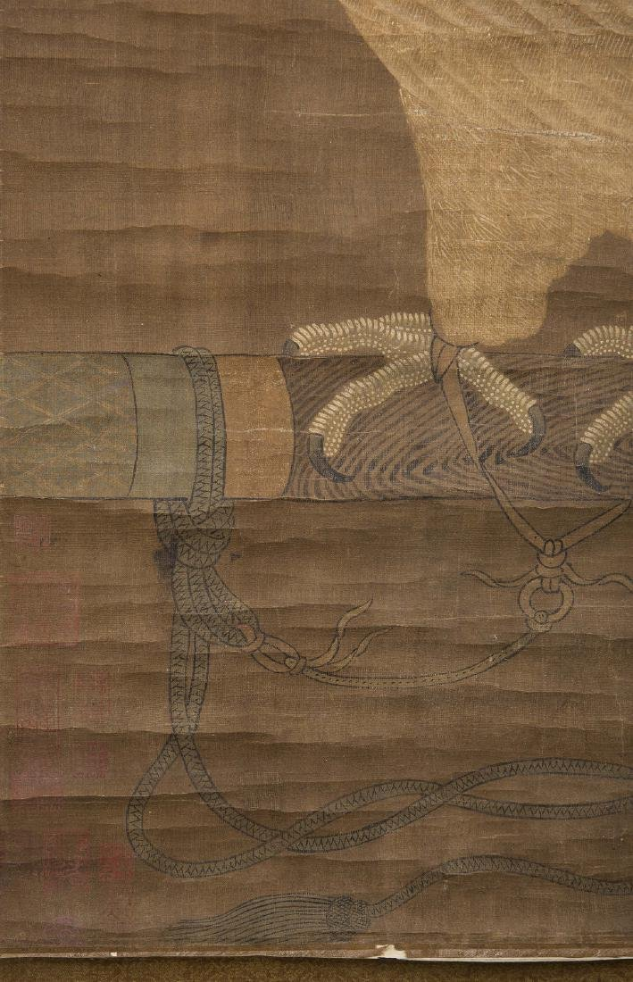 Chinese water color painting on silk scroll. - 5