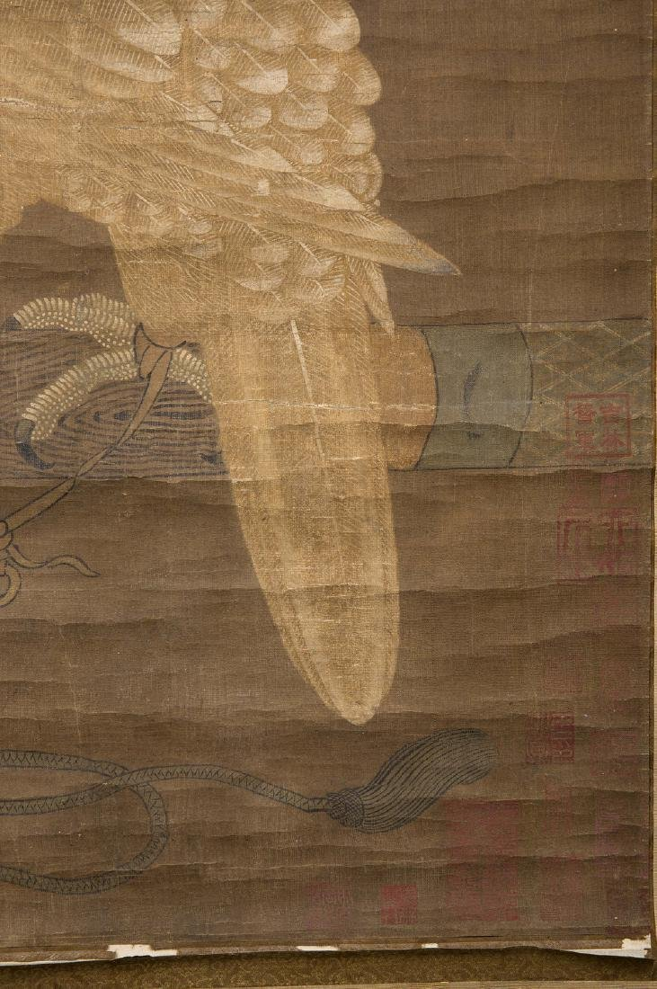 Chinese water color painting on silk scroll. - 6