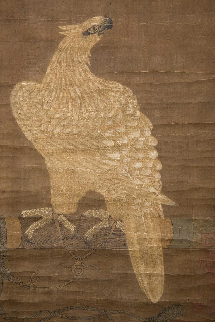 Chinese water color painting on silk scroll. - 8