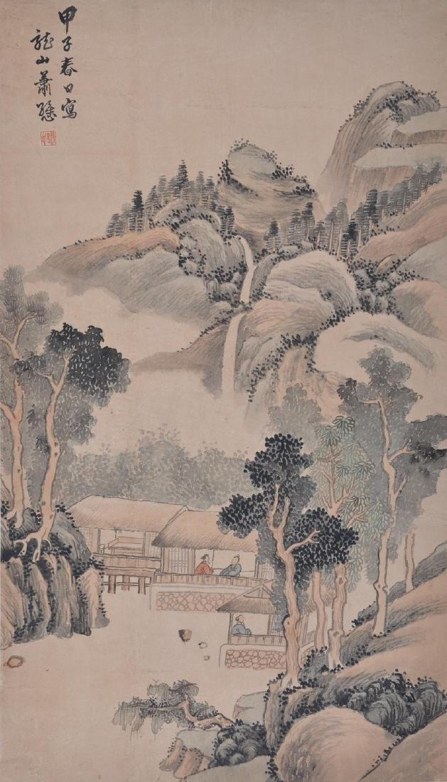 Chinese ink and water color painting on paper scroll