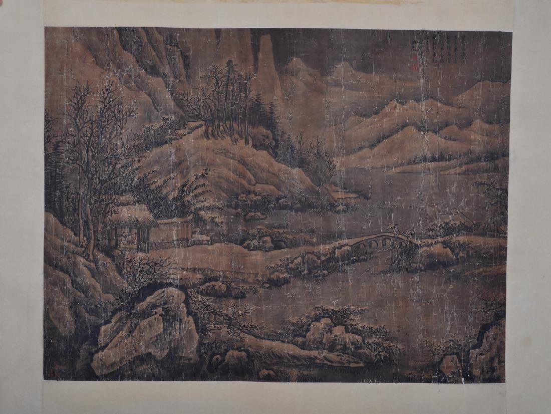Chinese ink painting on silk, attributed to Emperor