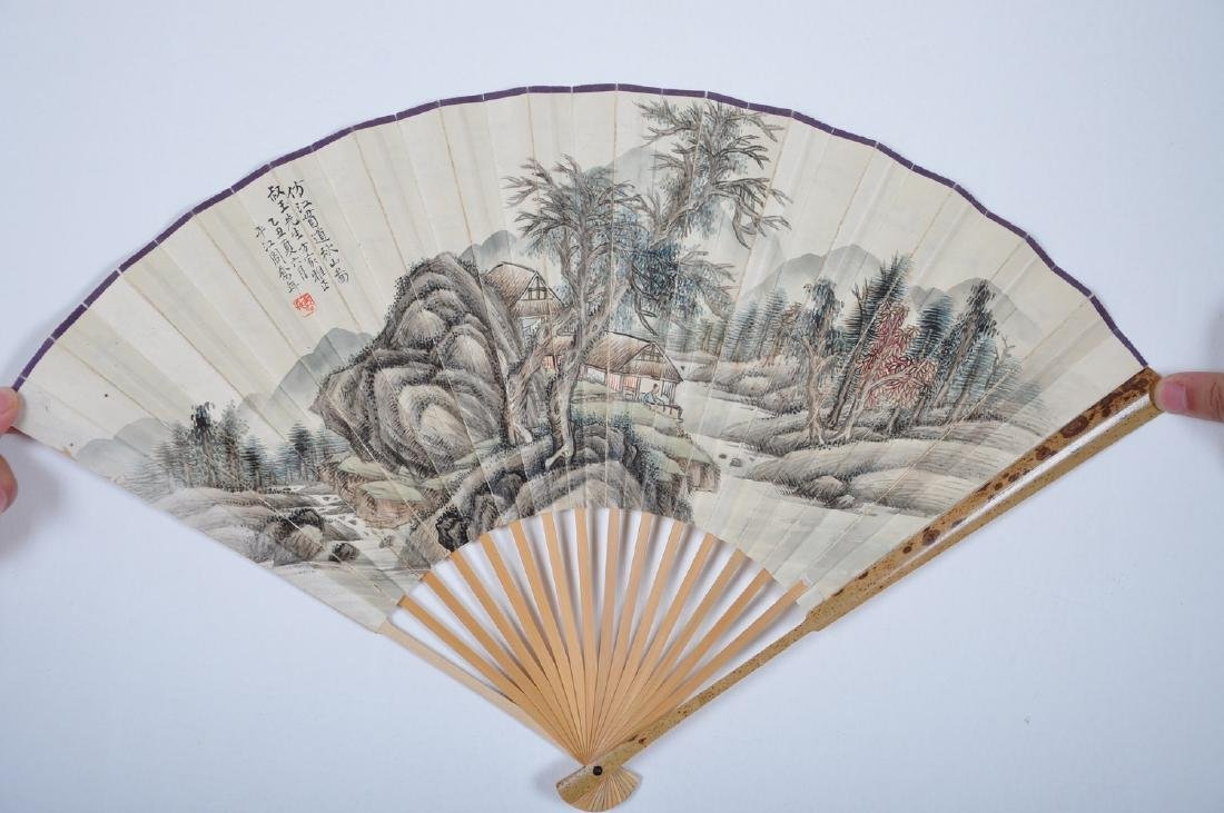 Chinese water color painting on fan, attributed to Zhou