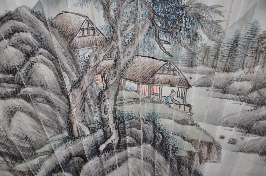 Chinese water color painting on fan, attributed to Zhou - 3