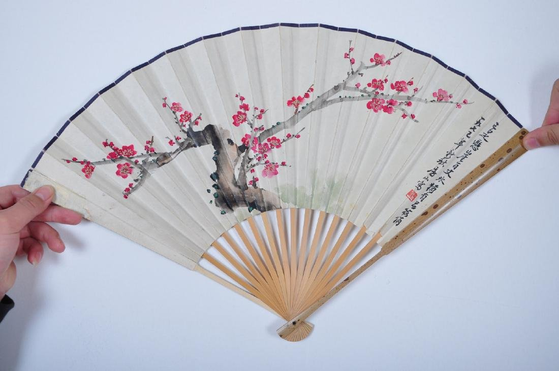 Chinese water color painting on fan, attributed to Fei