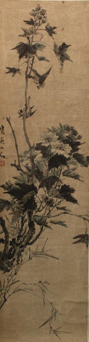 Chinese ink painting on paper scroll.