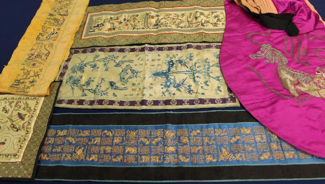 Six pieces of Chinese embroidery.