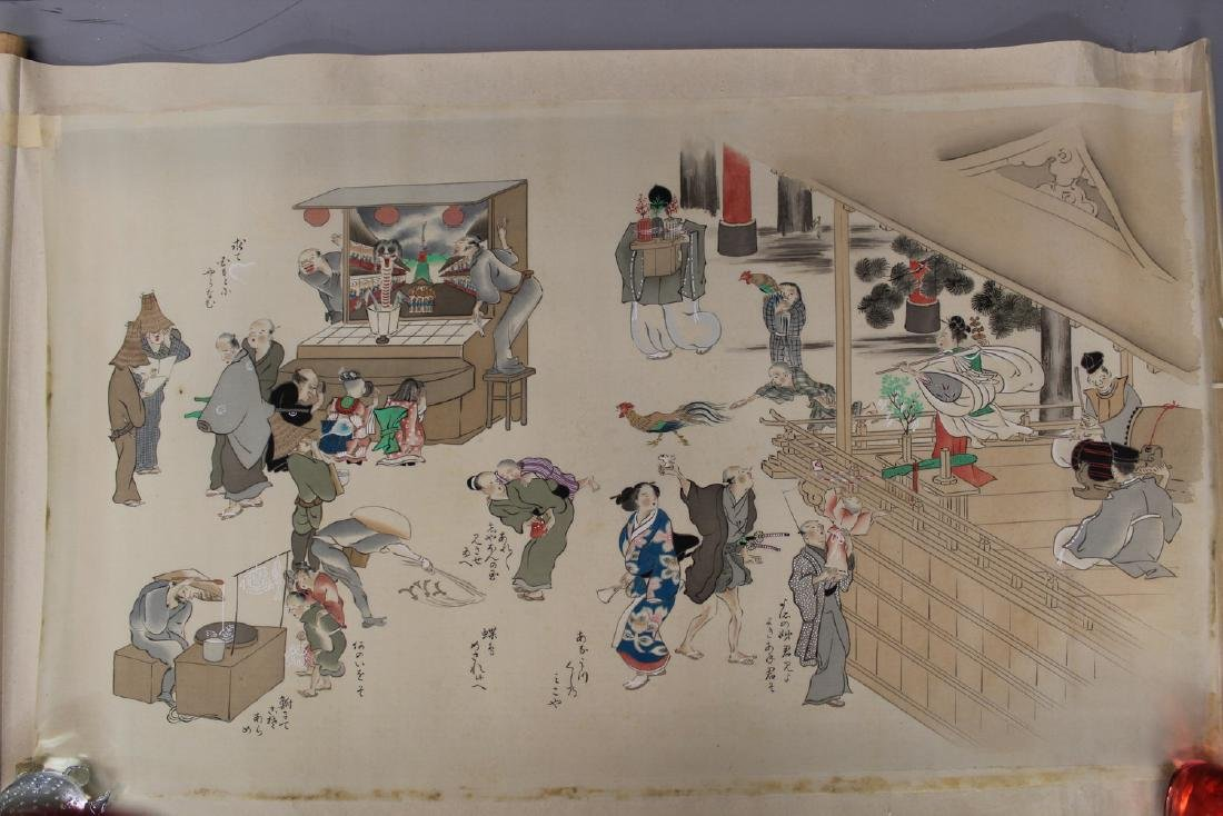 Japanese water color painting on silk scroll, Japanese