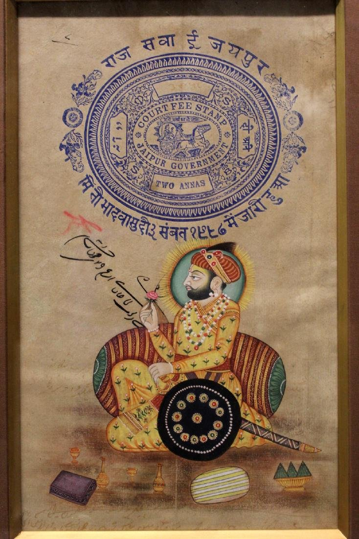 Indian painting of a gentleman holding a flower,