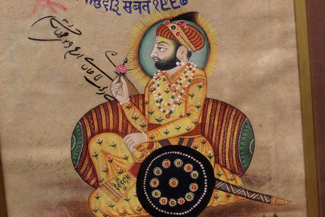 Indian painting of a gentleman holding a flower, - 3