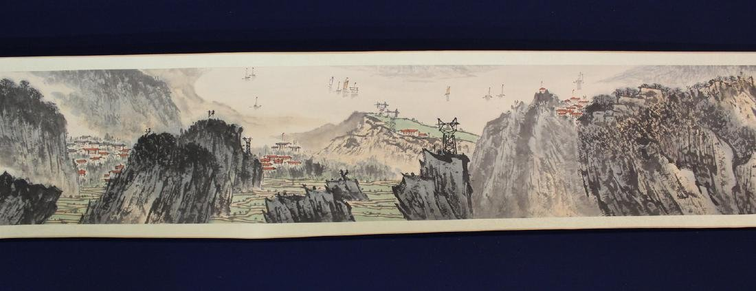 Chinese water color painting on paper scroll,