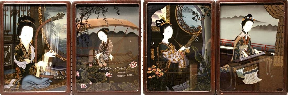 Set of Four (4) Chinese Framed Reverse Paintings on