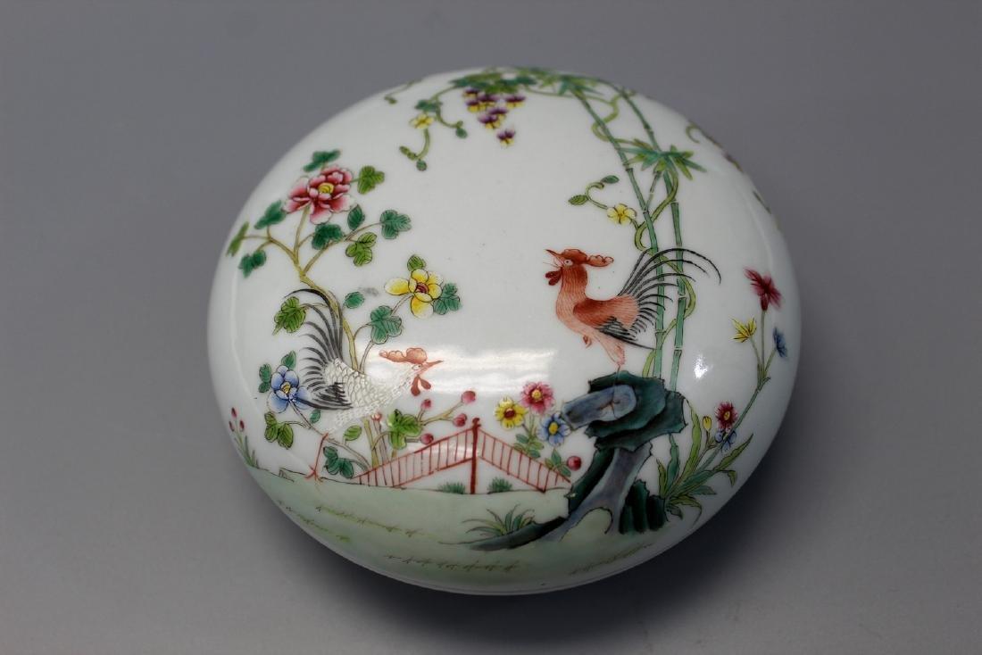 Chinese famille rose porcelain box, Qianlong mark.