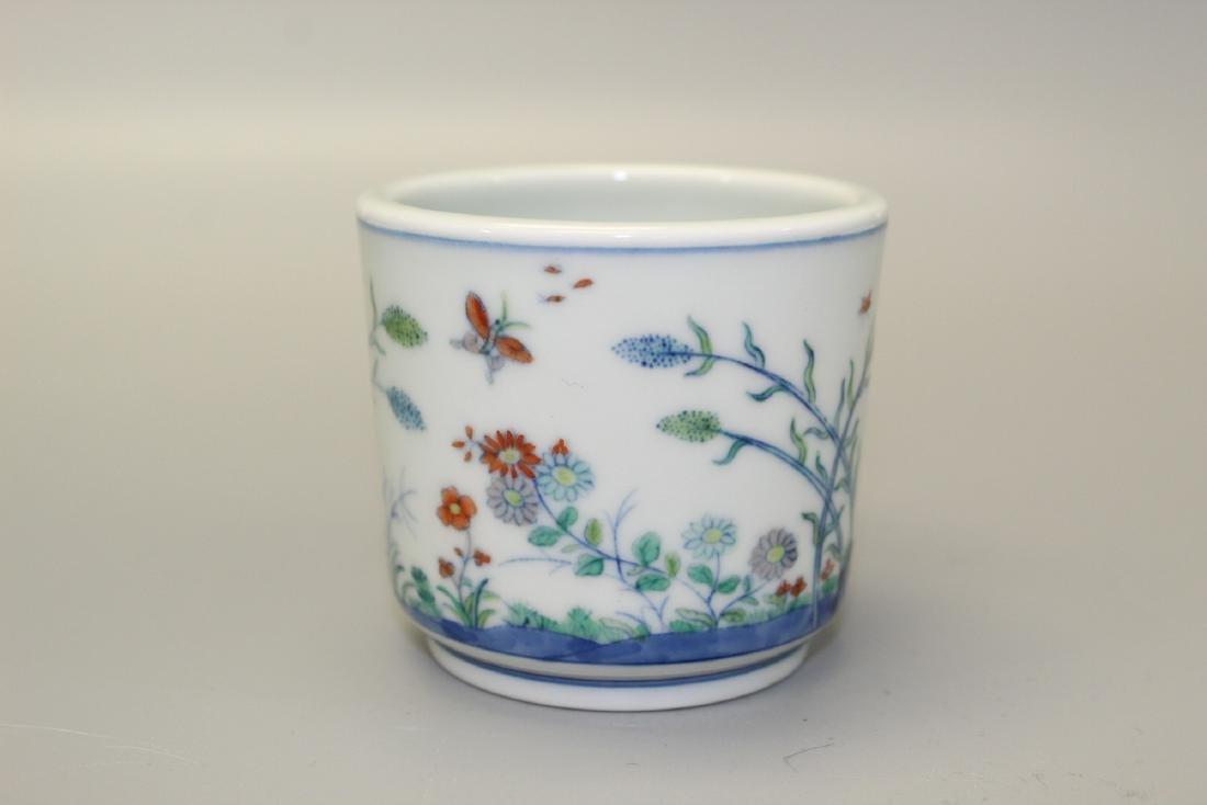 Chinese Doucai porcelain cup, Qianlong mark.