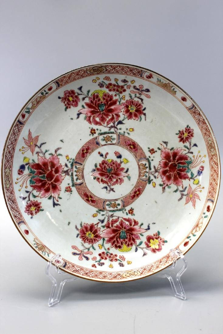 Chinese export famille rose porcelain plate, Yongzheng