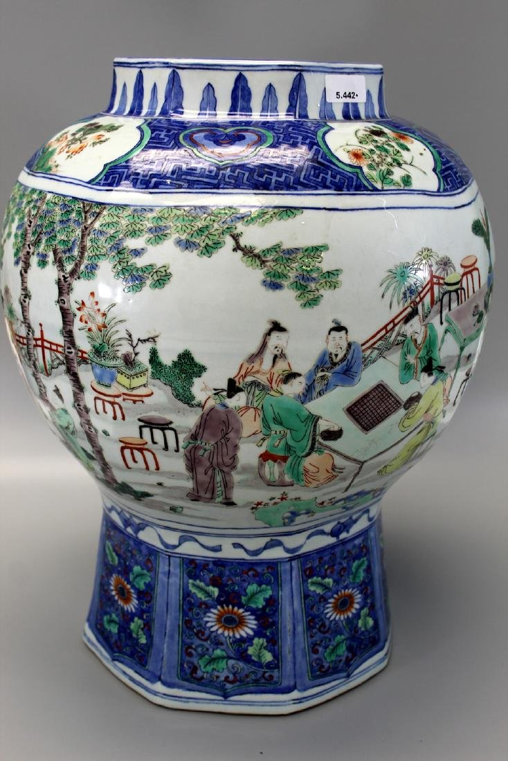 Big Chinese famille verte blue and white porcelain