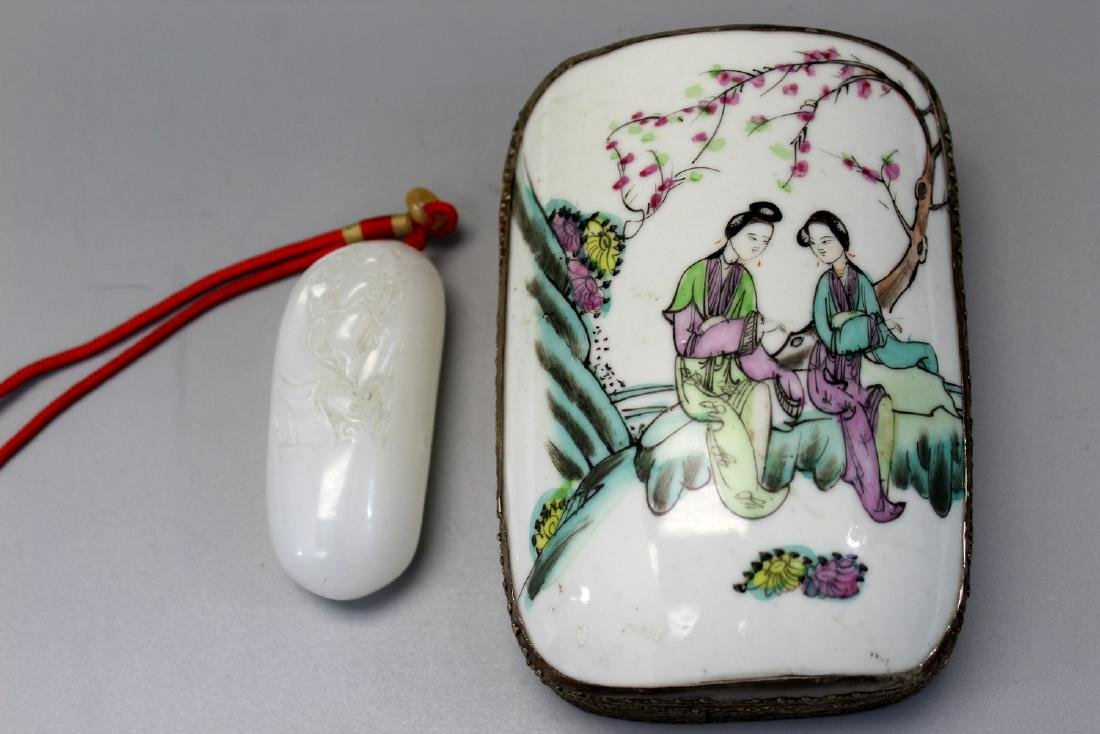 Chinese metal box with famille rose porcelain cover and