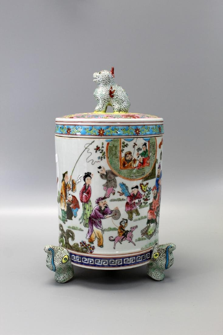 Chinese Famille Rose Porcelain Footed Jar with Lid,