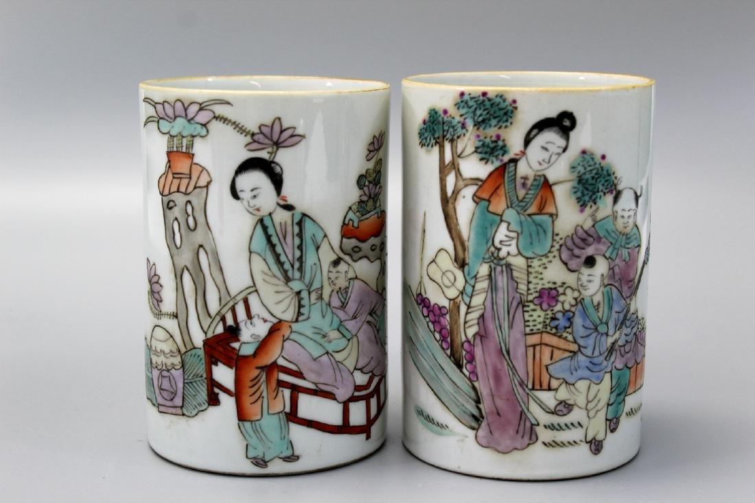 Two Chinese Famille Rose Porcelain Brush Pots, Tongzhi